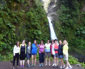 pink pangea visits a waterfall with outward bound costa rica